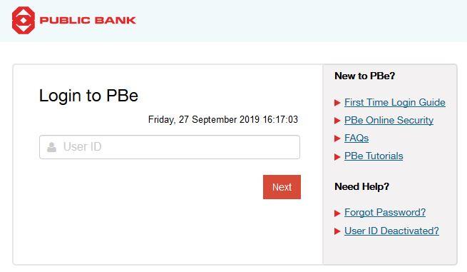 Login Internet banking Public bank