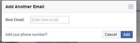 Add Email Facebook