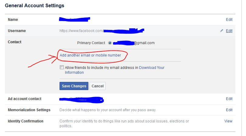Change Email Facebook
