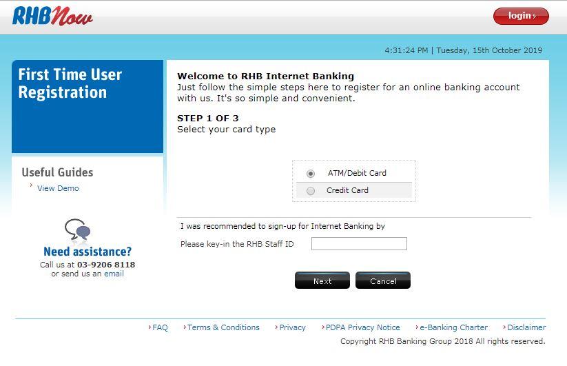 Register Internet Banking RHB Bank