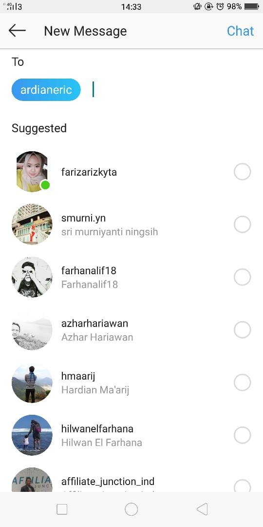 Cara Hantar Mesej Instagram